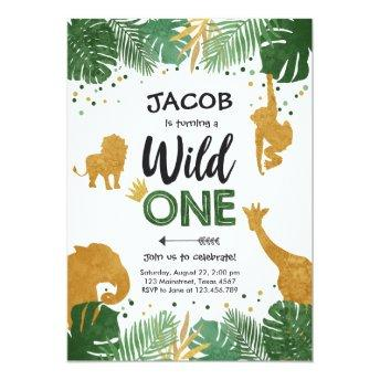 Wild One Birthday Safari Black Gold Jungle Boy 1st Invitation