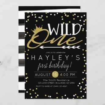 Wild One Black and Gold Confetti Wild Things Invitation