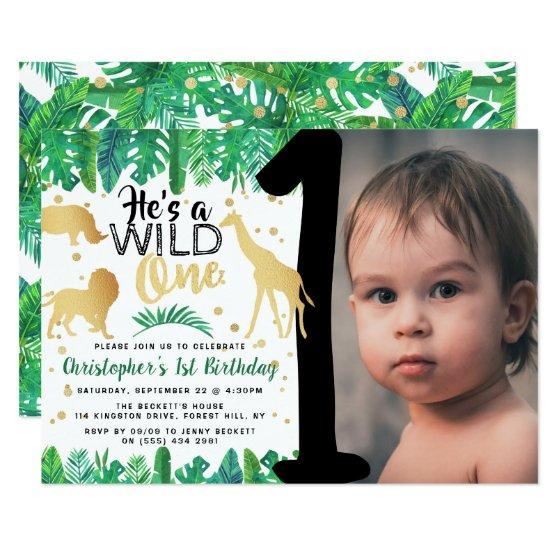 Wild One Boys Photo First Birthday Invitation