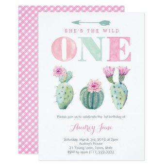 Wild One Cactus 1st birthday invites for Girl