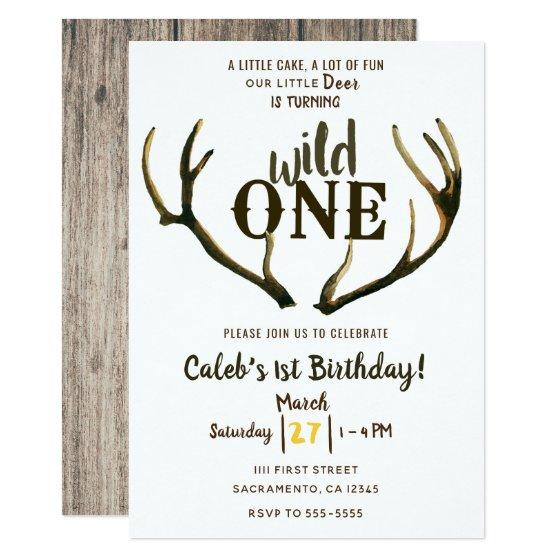Wild One Deer Antlers Rustic 1st Birthday Party Invitation