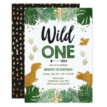 Wild One Dino Party Boy Gold Dinosaur 1st Birthday Invitation