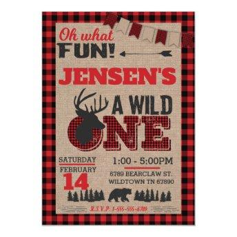 Wild One First Birthday Lumberjack Buffalo Plaid Invitation