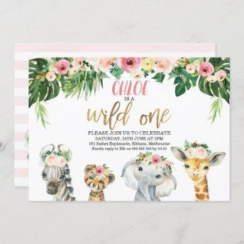 Wild One Floral Foliage Safari Animals Birthday Invitation