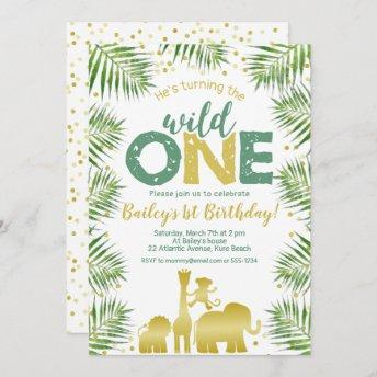 Wild One Green Gold Safari Animals 1st Birthday Invitation