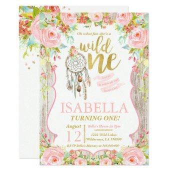 Wild One Invitation Girl Boho Dreamcatcher Party