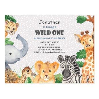 Wild One Jungle Camping Theme 1st Birthday Invite