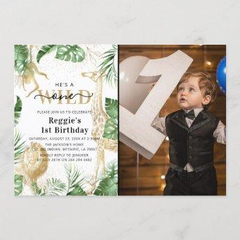 Wild One Jungle Greenery & Gold 1st Birthday Photo Invitation