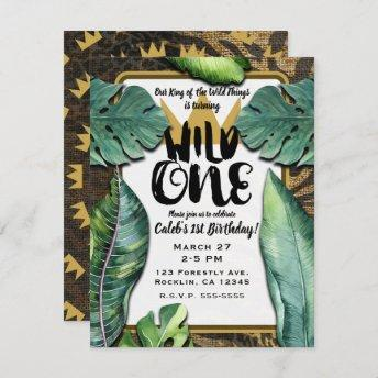 Wild One King of Things Crown 1st Birthday Party Invitation