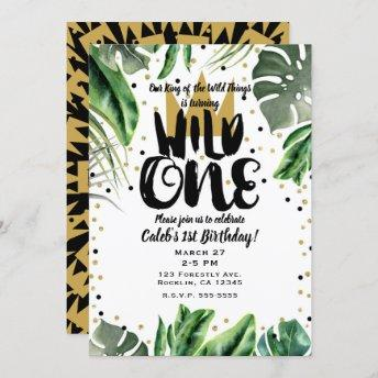 Wild One King of Things Crown 1st Birthday Photo Invitation