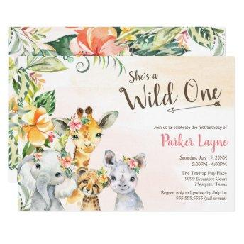 Wild One Lovely Safari Friends First Birthday Invitation