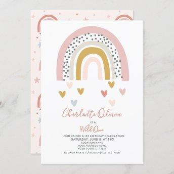 Wild One Muted Rainbow Girl's 1st Birthday Party Invitation