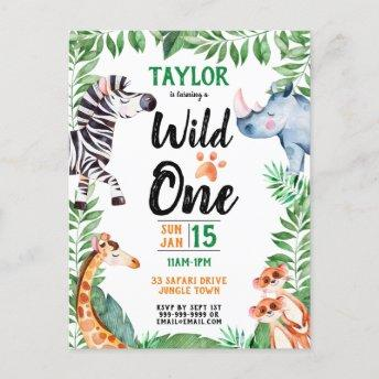 Wild One Safari Animal Kids 1st Birthday Invitation PostInvitation