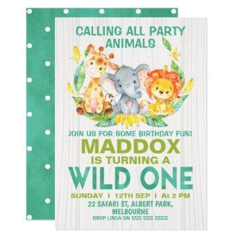 Wild One Safari Animals Birthday Invitation