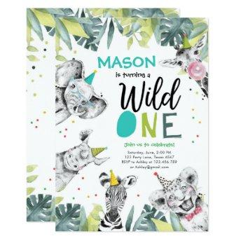 Wild One Safari Animals Boy Birthday Invitation