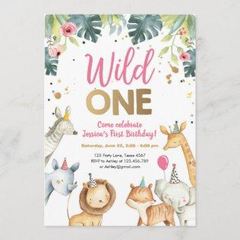 Wild One Safari Animals Girl Birthday Invitation