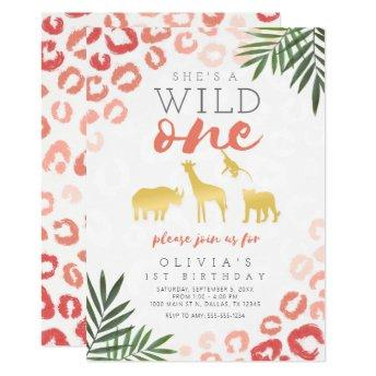 Wild One Safari Pink and Gold 1st Birthday Invitation