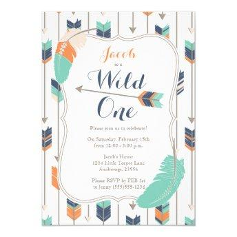 Wild ONE Tribal Arrows Birthday Party Blue Green