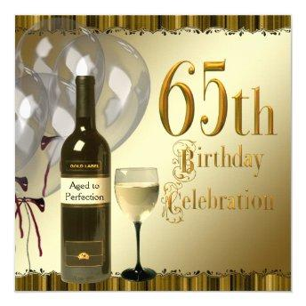 Wine Glass Bottle Black Gold 65th Birthday Party Invitation