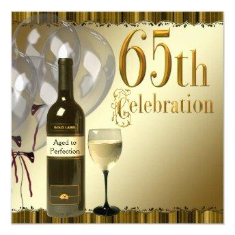 Wine Glass Bottle Gold 65th Birthday Party