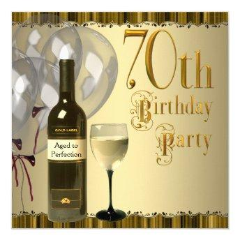 Wine Glass Bottle Gold 70th Birthday Party