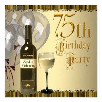 Wine Glass Bottle Gold 75th Birthday Party