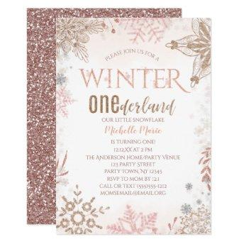 Winter Onederland 1st Birthday Pink Snowflake Invitation