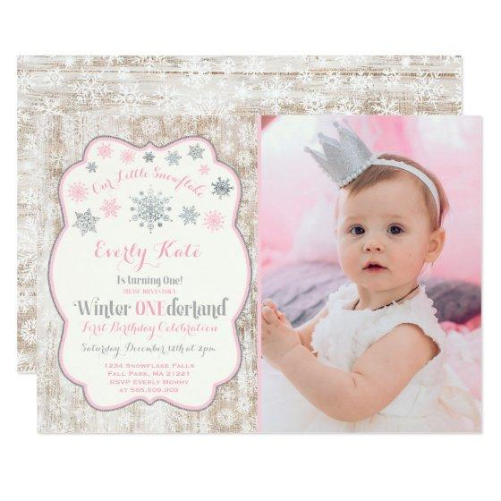 winter onederland birthday invitation pink silver birthday party
