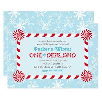 Winter ONEderland Blue Red Candy Cane Birthday Invitation