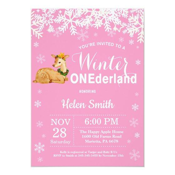 Winter Onederland Deer Girl 1st Birthday Invitation