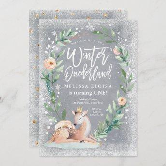 Winter ONEderland Floral Silver Woodland Birthday Invitation