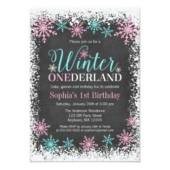 Winter ONEderland Teal Chalkboard 1st Birthday