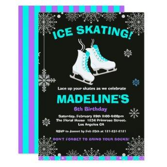 Winter Wonderland Ice Skating Chalkboard Birthday Invitation