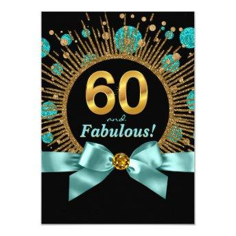 Womans 60th Birthday Teal Blue and Gold
