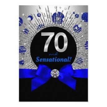 Womans 70th Birthday Party Royal Blue and Silver