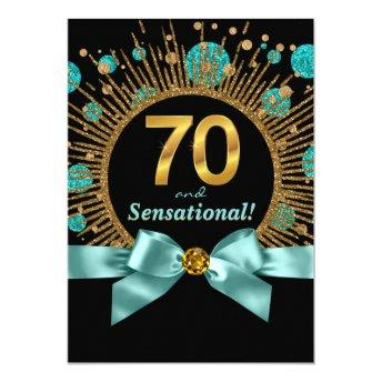 Womans 70th Birthday Party Teal Blue and Gold