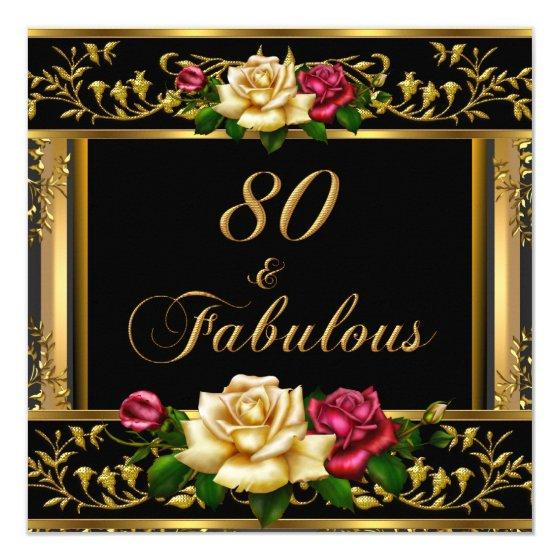 220 Womans 80th Birthday Party Rose Gold Vintage Invitation