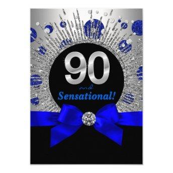 Womans 90th Birthday Party Royal Blue and Silver