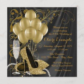 Womans Black and Gold Birthday Party Invitation