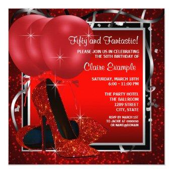 Womans Black and Red High Heels Birthday Party Invitation