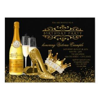 Womans Black Gold High Heels Princess Birthday Invitation