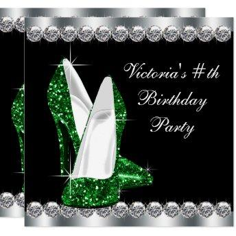 Womans Elegant Black Emerald Green Birthday Party Invitation