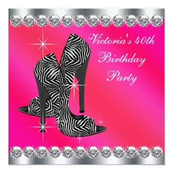 Womans Elegant Hot Pink 40th Birthday Party