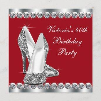 Womans Elegant Red Birthday Party Invitation