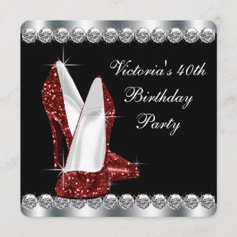 Womans Elegant Ruby Red Birthday Party Invitation