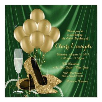 Womans Emerald Green and Gold Birthday Party