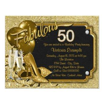 Womans Fabulous 50 Birthday Party Invitation