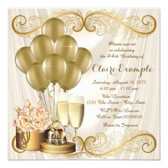 Womans Ivory and Gold Birthday Party