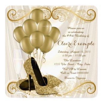 Womans Ivory and Gold Birthday Party Glamour Satin Invitation
