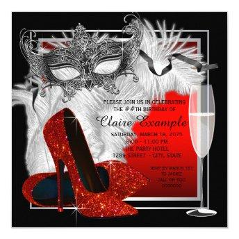 Womans Red and Black Masquerade Birthday Party